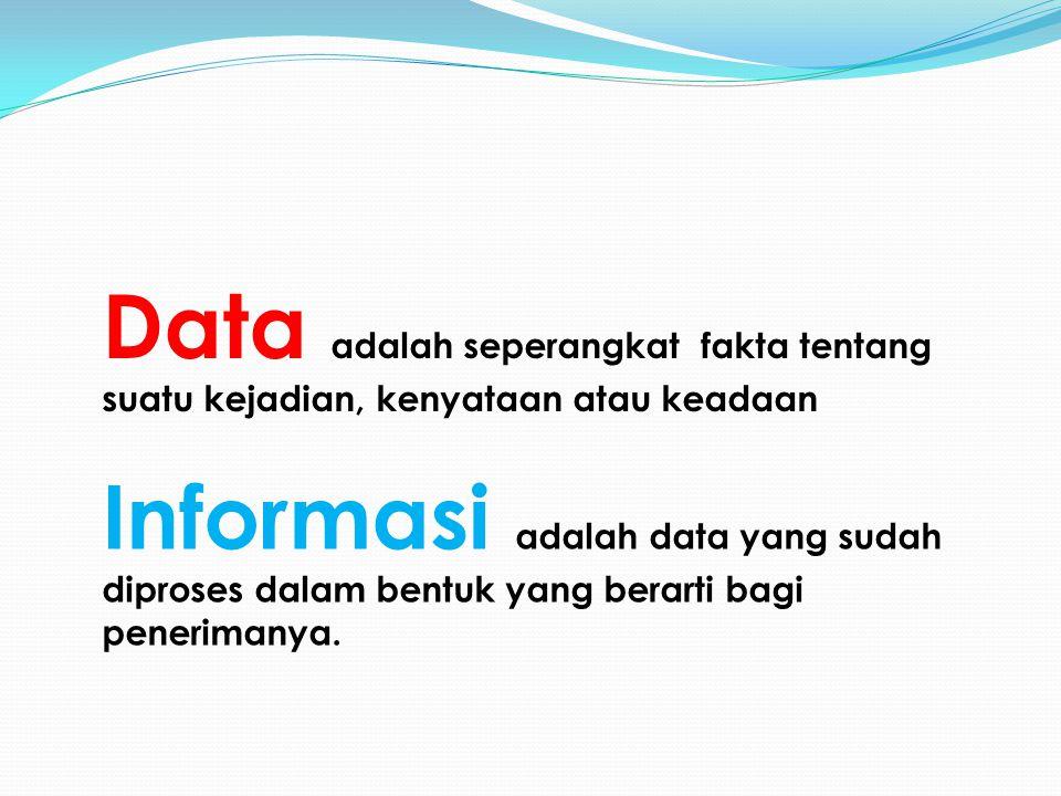 Data adalah seperangkat fakta tentang suatu kejadian, kenyataan atau keadaan