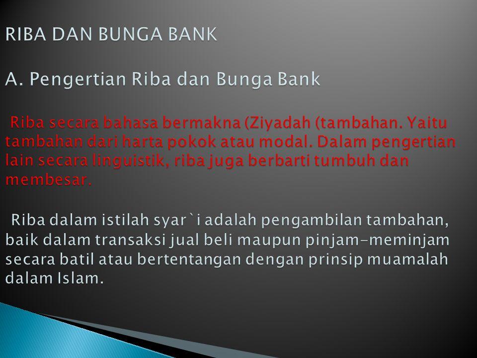 RIBA DAN BUNGA BANK A.