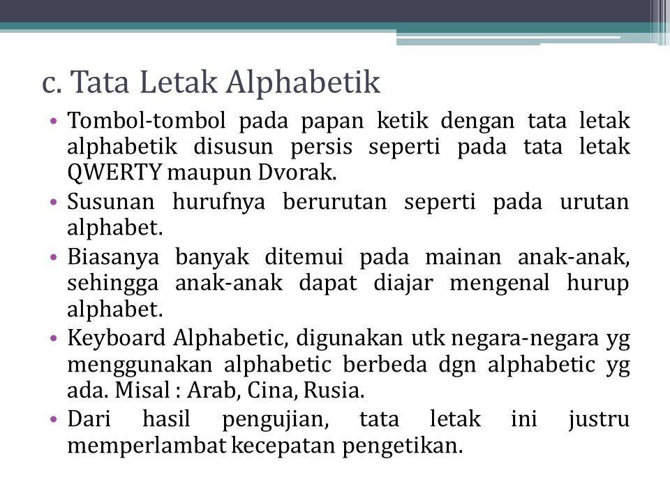 c. Tata Letak Alphabetik