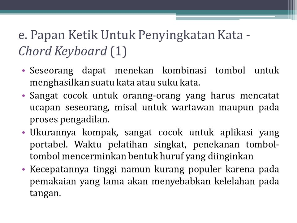 e. Papan Ketik Untuk Penyingkatan Kata - Chord Keyboard (1)