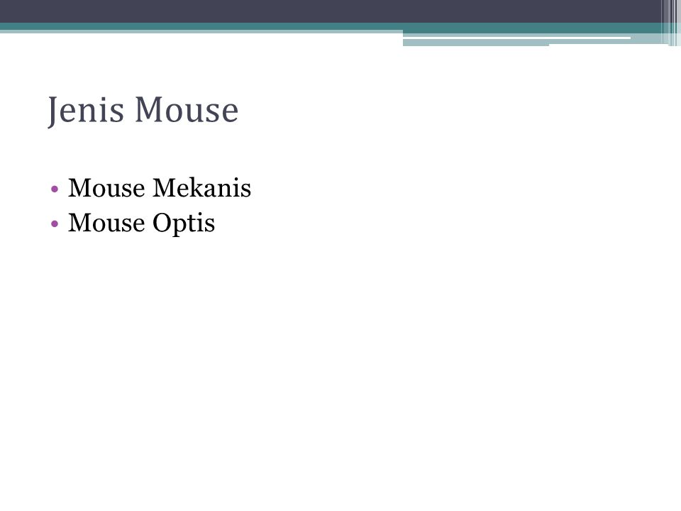 Jenis Mouse Mouse Mekanis Mouse Optis