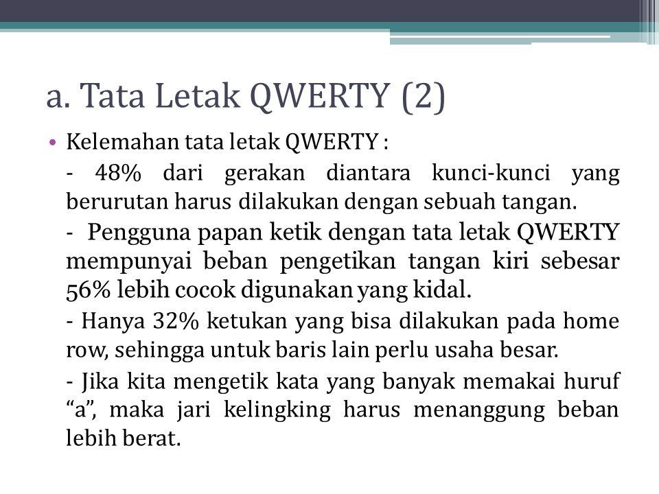 a. Tata Letak QWERTY (2) Kelemahan tata letak QWERTY :