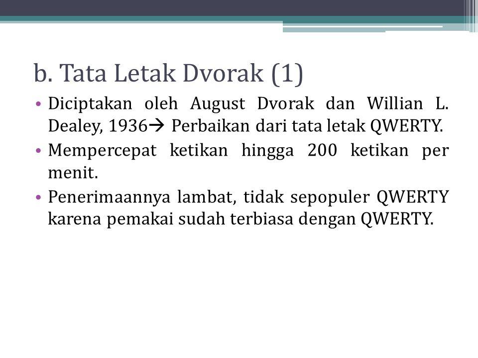 b. Tata Letak Dvorak (1) Diciptakan oleh August Dvorak dan Willian L. Dealey, 1936 Perbaikan dari tata letak QWERTY.