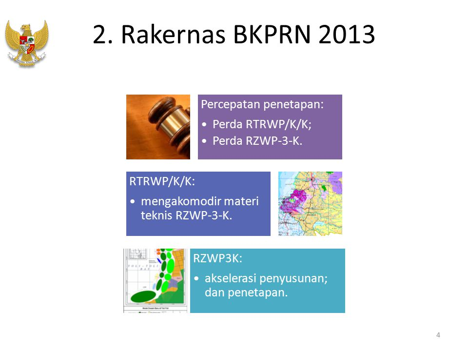 2. Rakernas BKPRN 2013 Percepatan penetapan: Perda RTRWP/K/K;