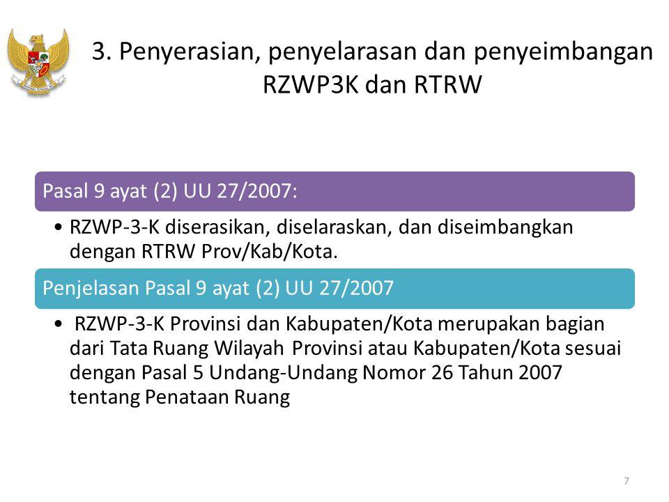 3. Penyerasian, penyelarasan dan penyeimbangan RZWP3K dan RTRW