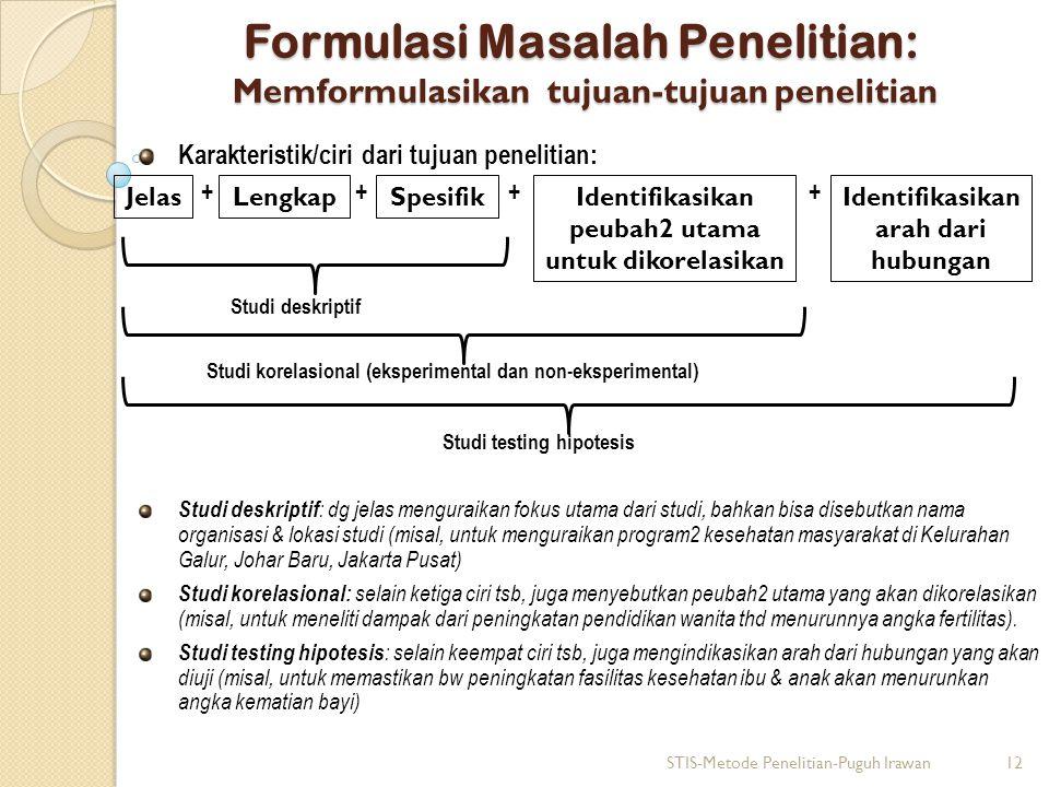 Formulasi Masalah Penelitian: Memformulasikan tujuan-tujuan penelitian
