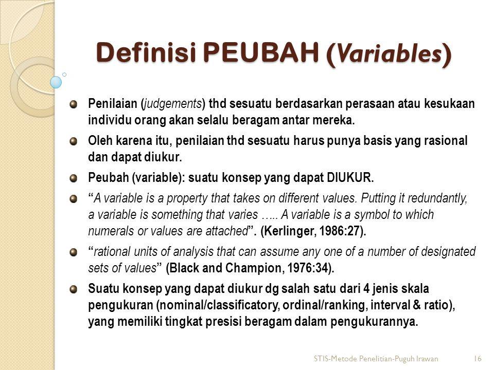 Definisi PEUBAH (Variables)