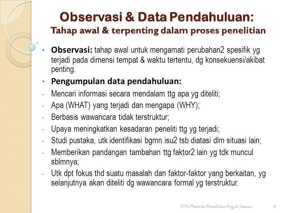 Observasi & Data Pendahuluan: Tahap awal & terpenting dalam proses penelitian