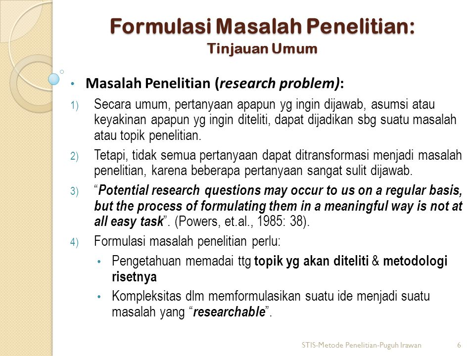Formulasi Masalah Penelitian: Tinjauan Umum