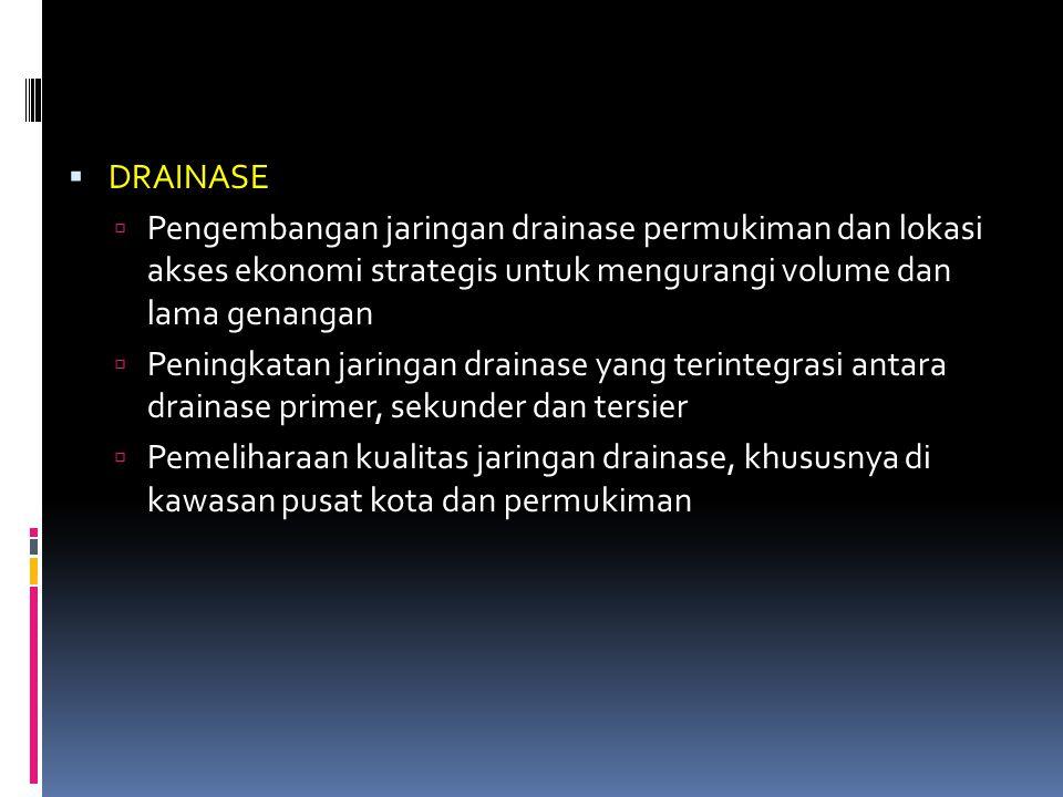 DRAINASE Pengembangan jaringan drainase permukiman dan lokasi akses ekonomi strategis untuk mengurangi volume dan lama genangan.