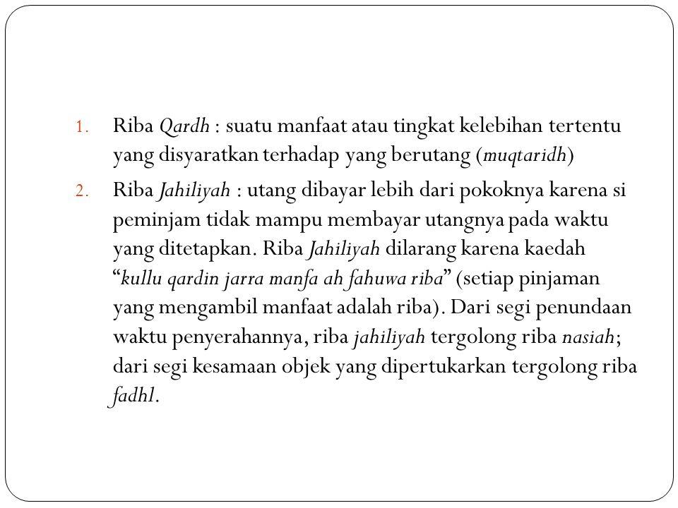 Riba Qardh : suatu manfaat atau tingkat kelebihan tertentu yang disyaratkan terhadap yang berutang (muqtaridh)