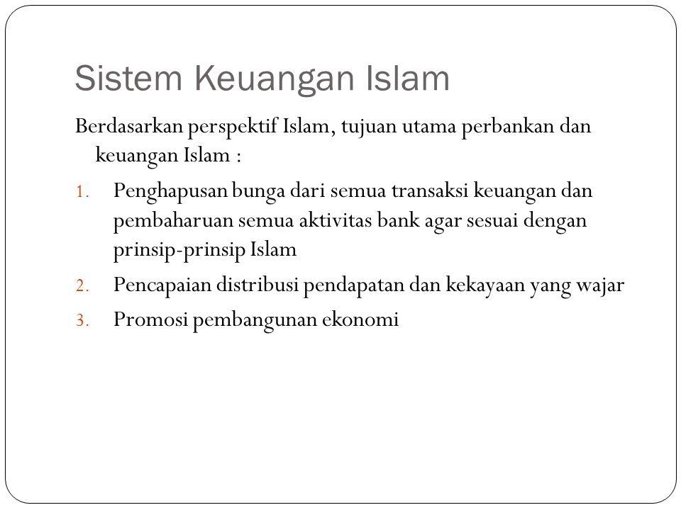 Sistem Keuangan Islam Berdasarkan perspektif Islam, tujuan utama perbankan dan keuangan Islam :