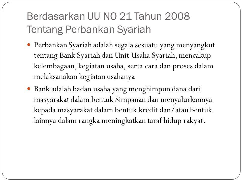 Berdasarkan UU NO 21 Tahun 2008 Tentang Perbankan Syariah