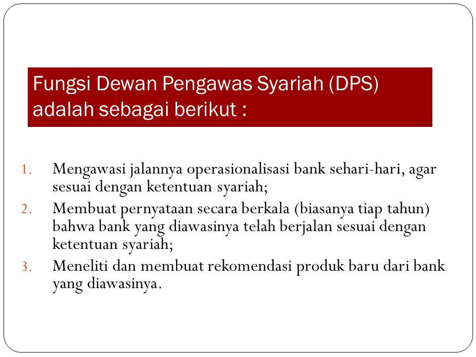 Fungsi Dewan Pengawas Syariah (DPS) adalah sebagai berikut :