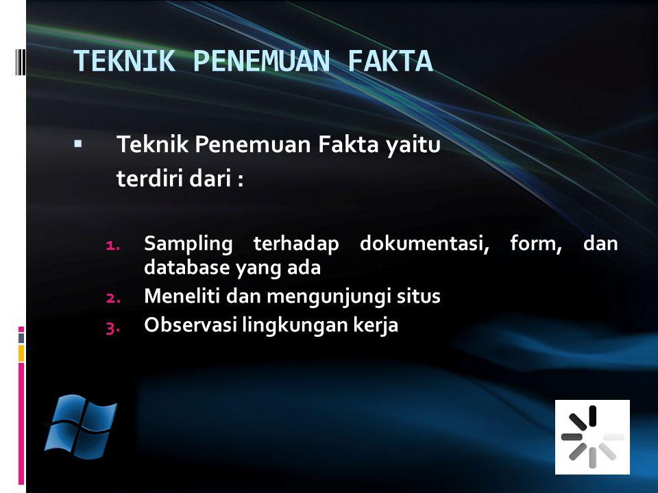 TEKNIK PENEMUAN FAKTA Teknik Penemuan Fakta yaitu terdiri dari :