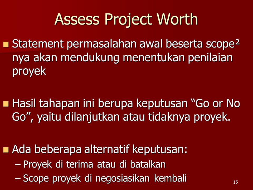 Assess Project Worth Statement permasalahan awal beserta scope² nya akan mendukung menentukan penilaian proyek.