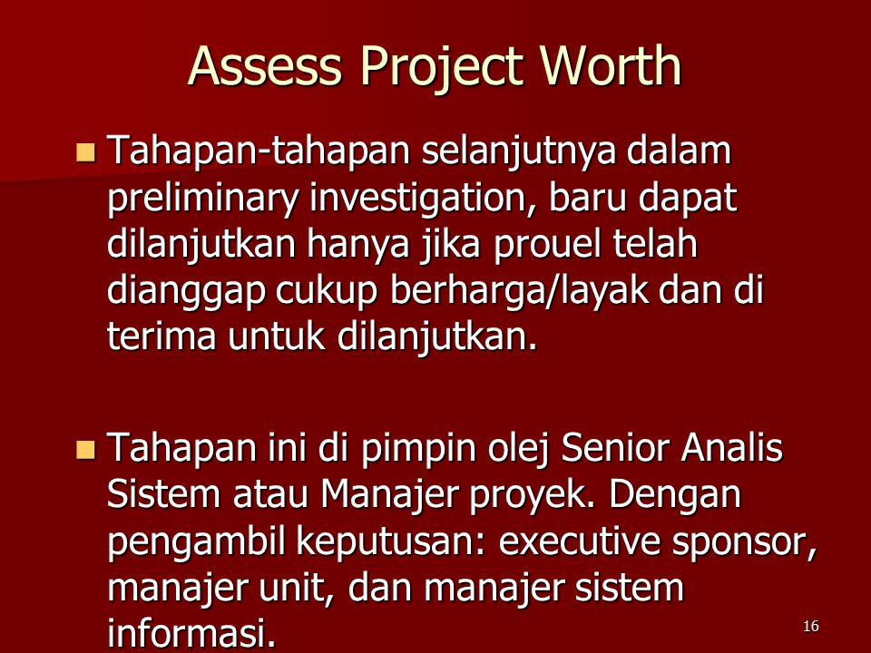 Assess Project Worth