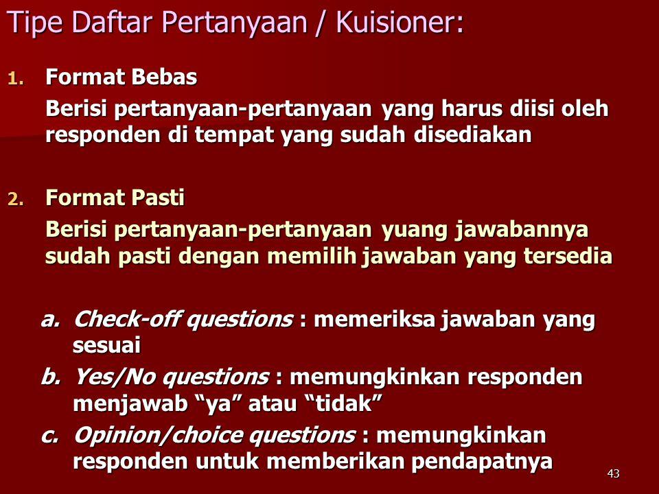 Tipe Daftar Pertanyaan / Kuisioner: