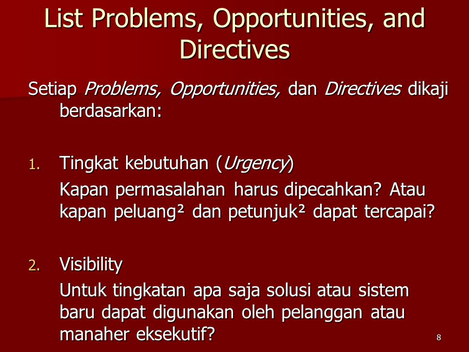 List Problems, Opportunities, and Directives