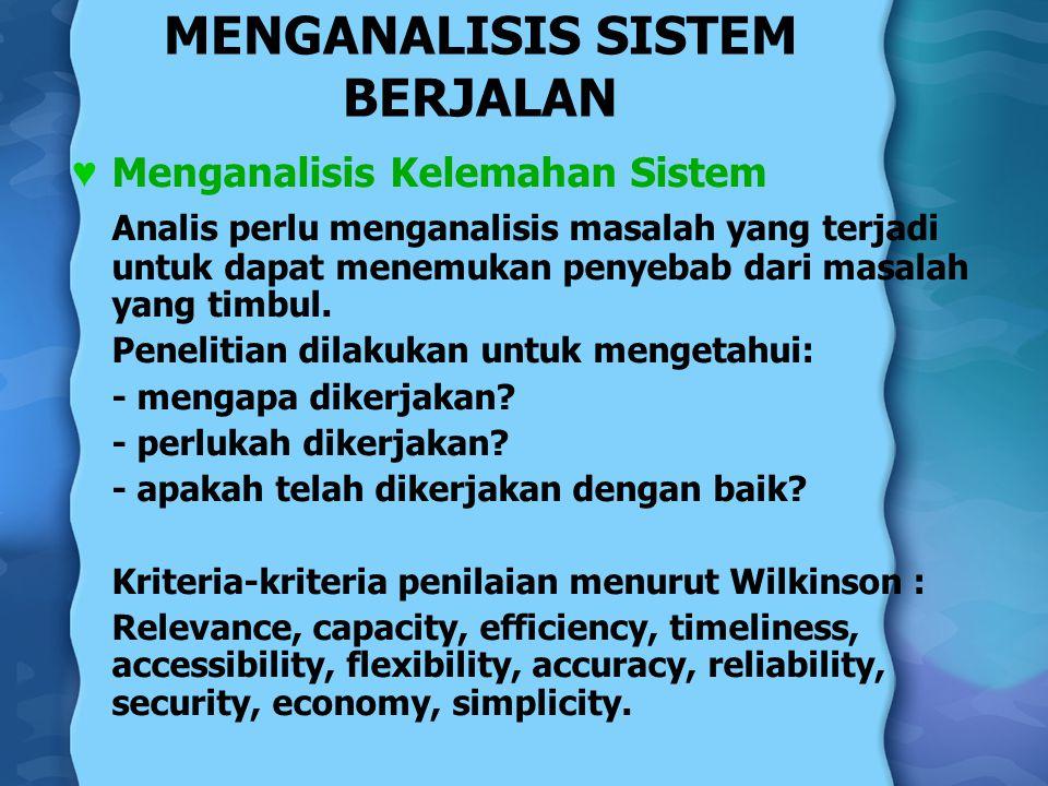 MENGANALISIS SISTEM BERJALAN