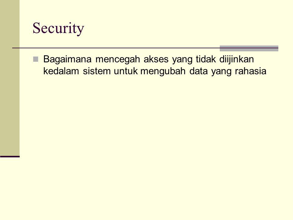 Security Bagaimana mencegah akses yang tidak diijinkan kedalam sistem untuk mengubah data yang rahasia.