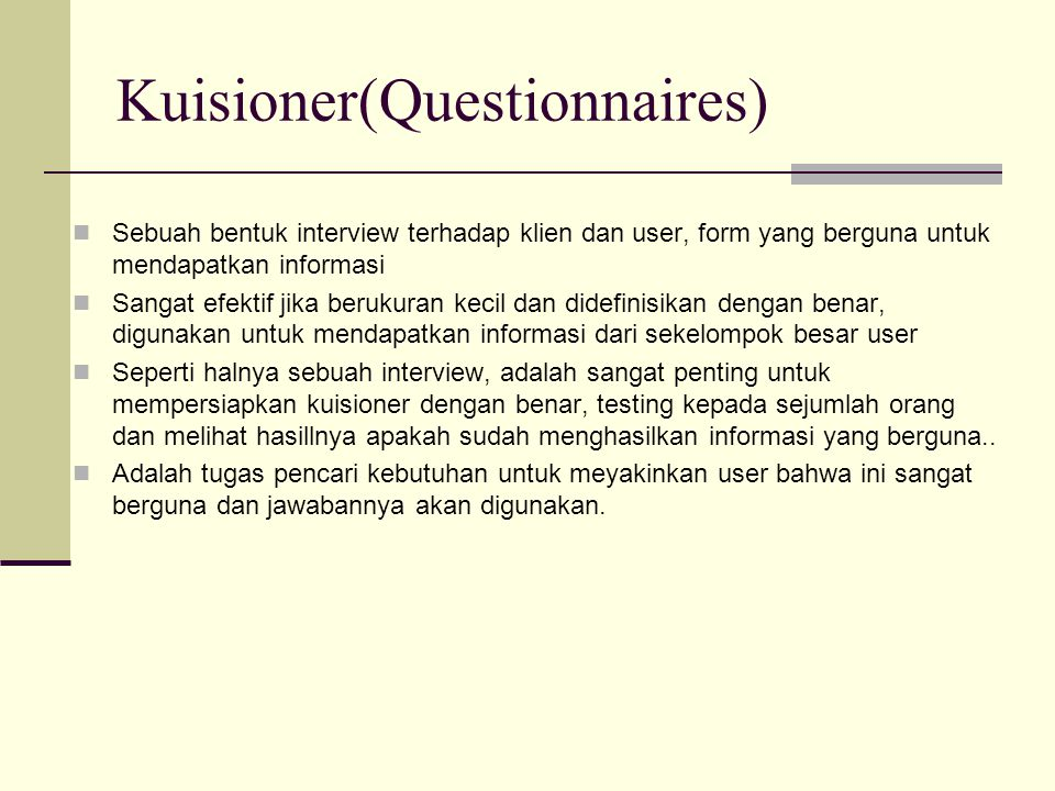 Kuisioner(Questionnaires)