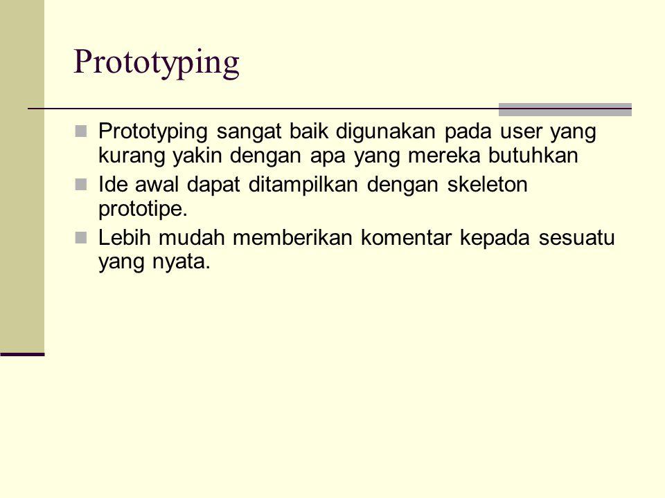 Prototyping Prototyping sangat baik digunakan pada user yang kurang yakin dengan apa yang mereka butuhkan.