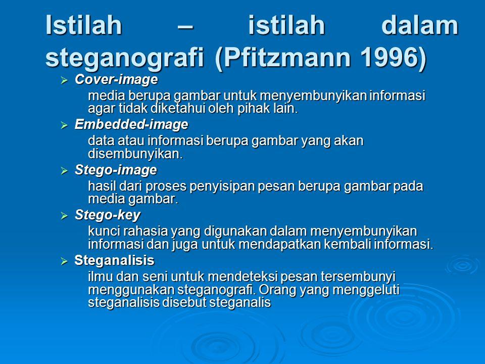 Istilah – istilah dalam steganografi (Pfitzmann 1996)