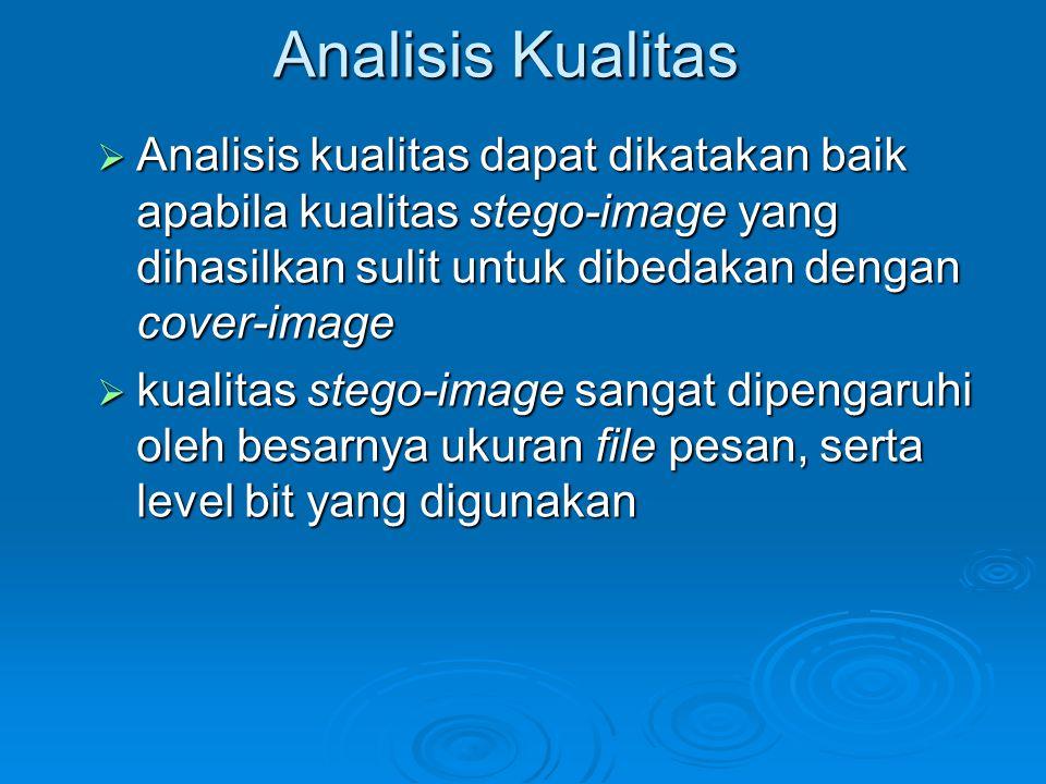Analisis Kualitas Analisis kualitas dapat dikatakan baik apabila kualitas stego-image yang dihasilkan sulit untuk dibedakan dengan cover-image.