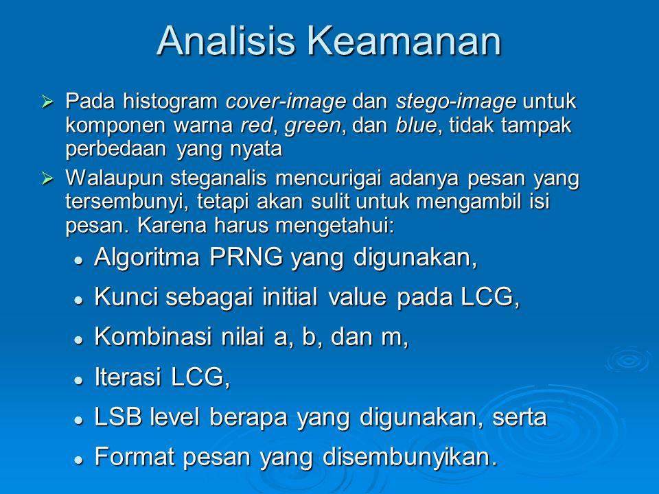 Analisis Keamanan Algoritma PRNG yang digunakan,