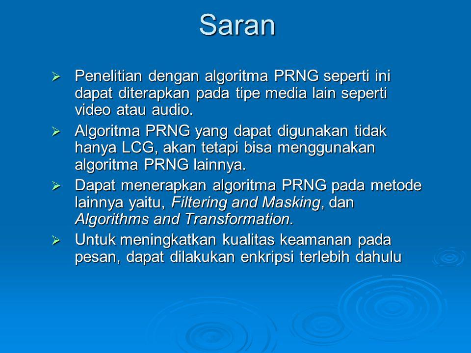Saran Penelitian dengan algoritma PRNG seperti ini dapat diterapkan pada tipe media lain seperti video atau audio.