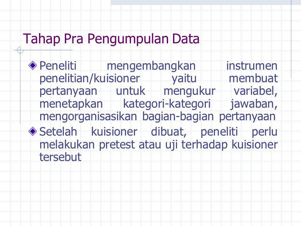 Tahap Pra Pengumpulan Data