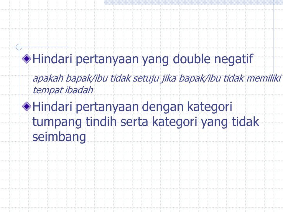 Hindari pertanyaan yang double negatif