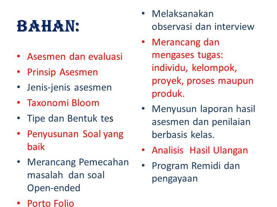 BAHAN: Melaksanakan observasi dan interview