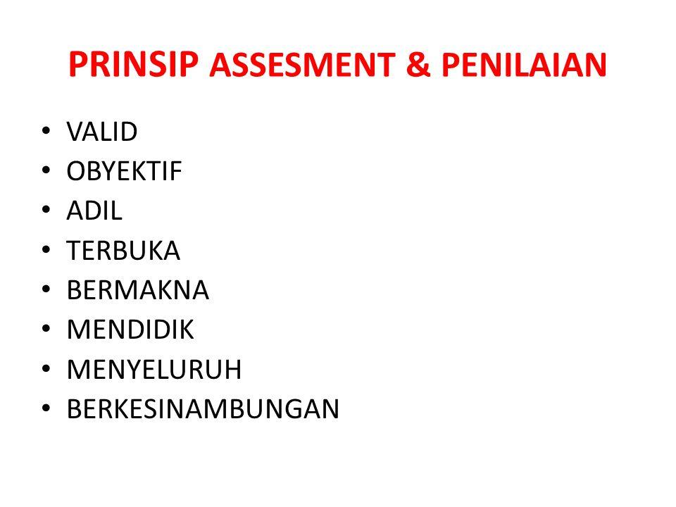 PRINSIP ASSESMENT & PENILAIAN