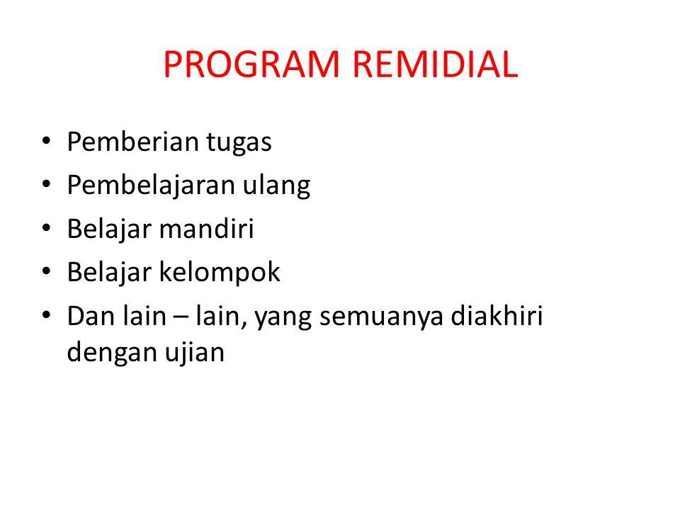 PROGRAM REMIDIAL Pemberian tugas Pembelajaran ulang Belajar mandiri