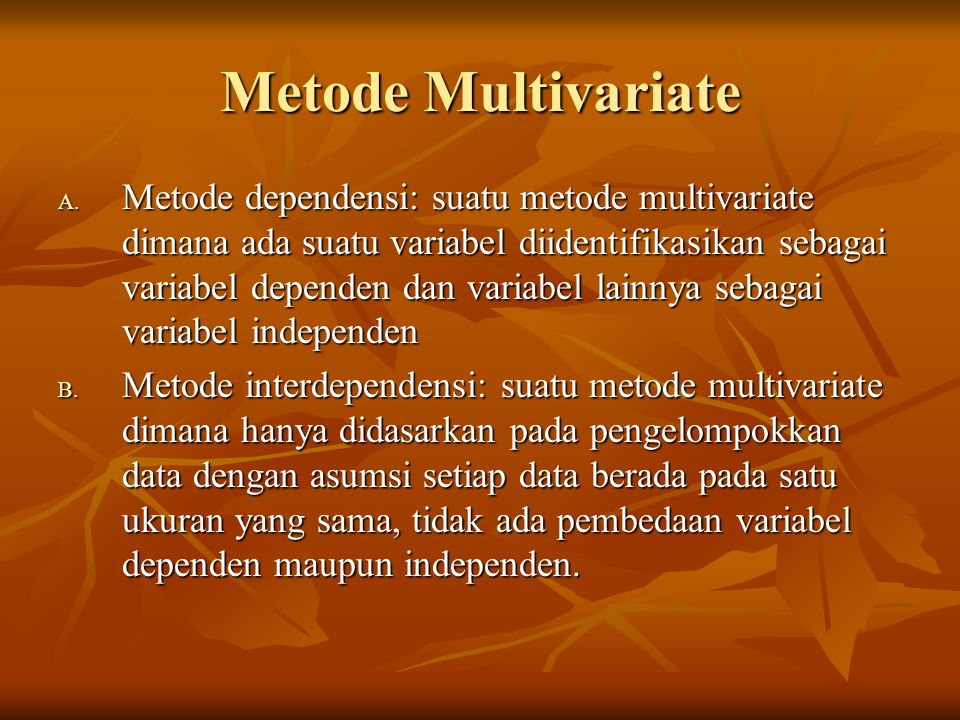 Metode Multivariate