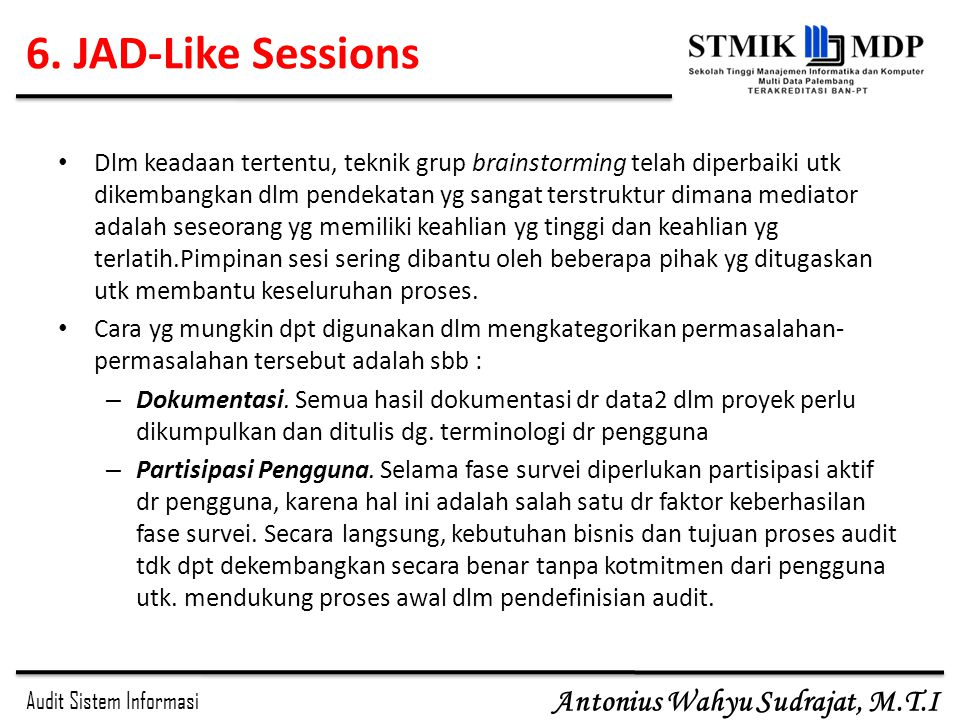 6. JAD-Like Sessions