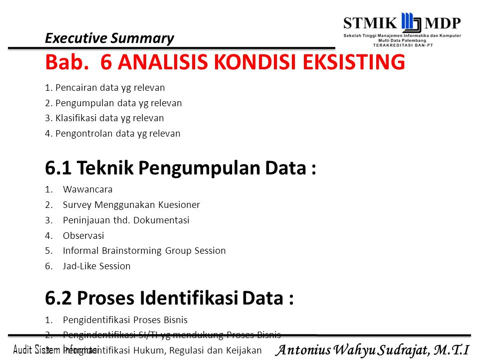 Executive Summary Bab. 6 ANALISIS KONDISI EKSISTING