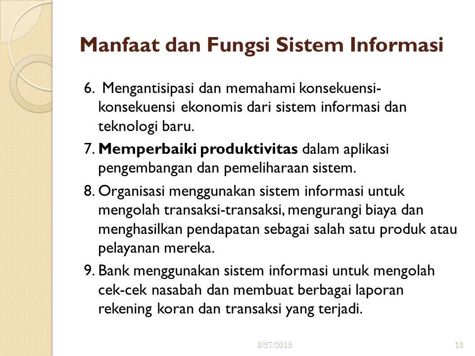 Manfaat dan Fungsi Sistem Informasi