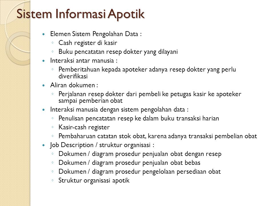 Sistem Informasi Apotik