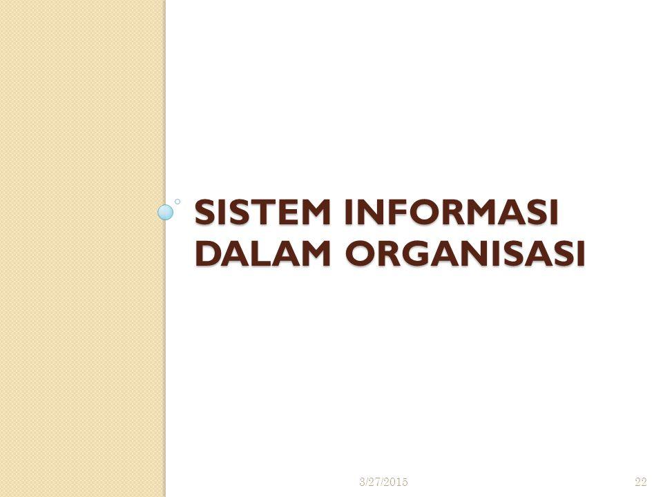 SISTEM INFORMASI dalam ORGANISASI