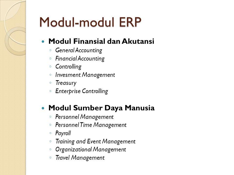 Modul-modul ERP Modul Finansial dan Akutansi Modul Sumber Daya Manusia