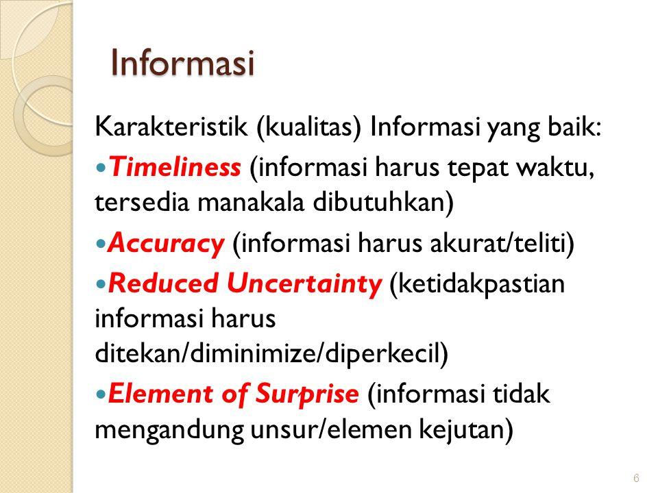 Informasi Karakteristik (kualitas) Informasi yang baik: