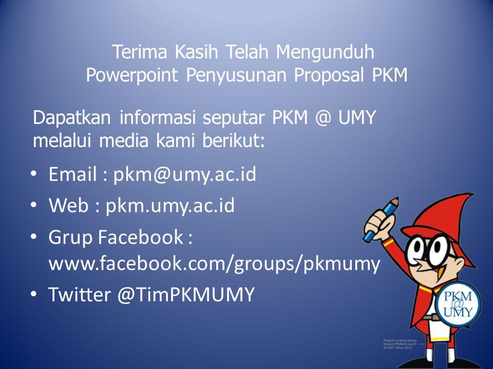 Grup Facebook : www.facebook.com/groups/pkmumy Twitter @TimPKMUMY