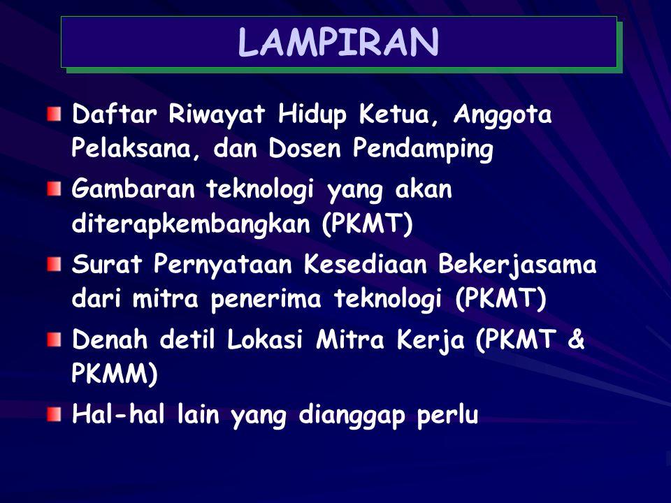 LAMPIRAN Daftar Riwayat Hidup Ketua, Anggota Pelaksana, dan Dosen Pendamping. Gambaran teknologi yang akan diterapkembangkan (PKMT)