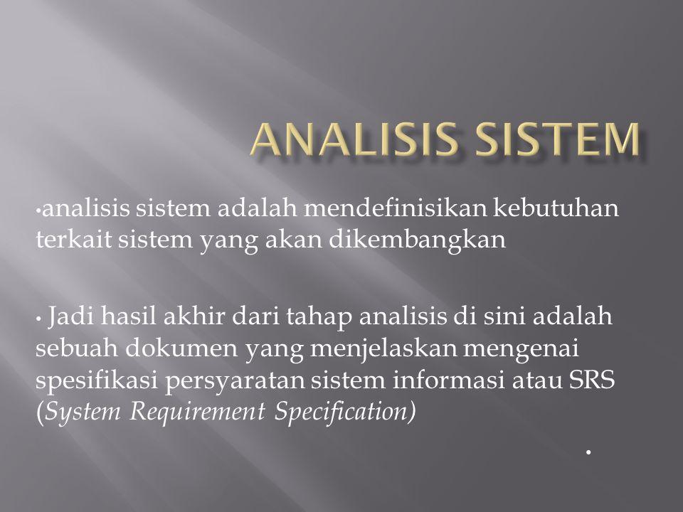 Analisis Sistem analisis sistem adalah mendefinisikan kebutuhan terkait sistem yang akan dikembangkan.