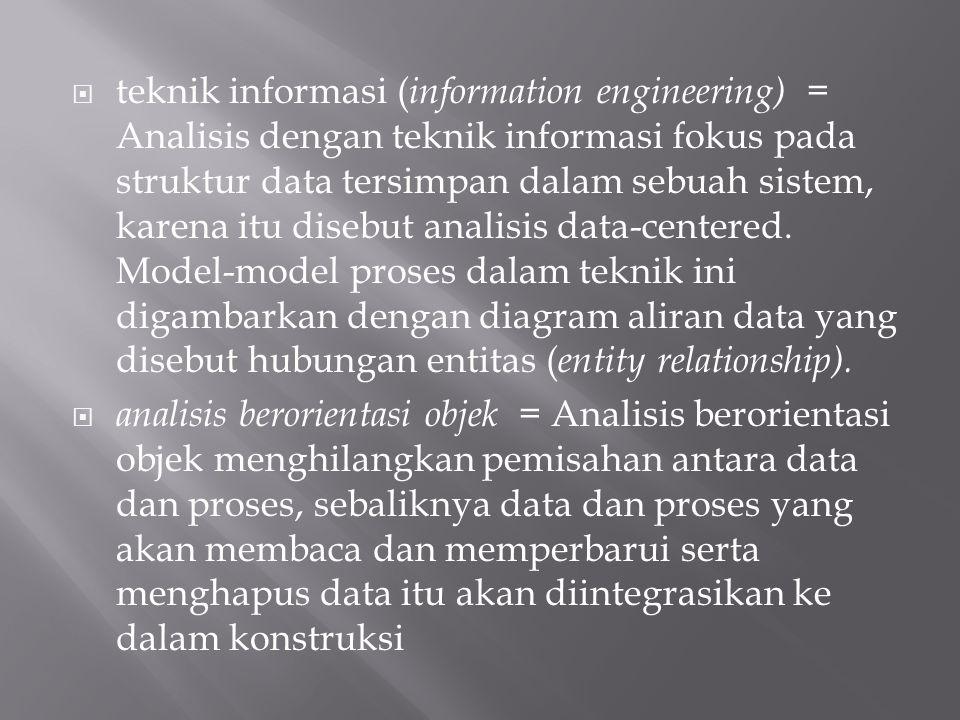 teknik informasi (information engineering) = Analisis dengan teknik informasi fokus pada struktur data tersimpan dalam sebuah sistem, karena itu disebut analisis data-centered. Model-model proses dalam teknik ini digambarkan dengan diagram aliran data yang disebut hubungan entitas (entity relationship).