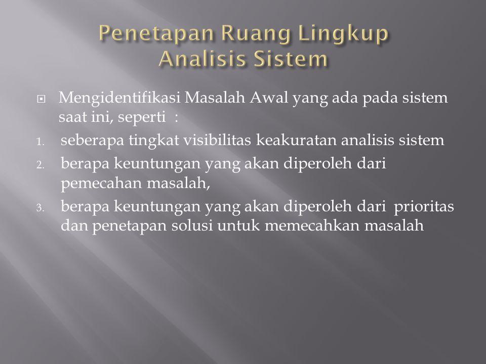 Penetapan Ruang Lingkup Analisis Sistem