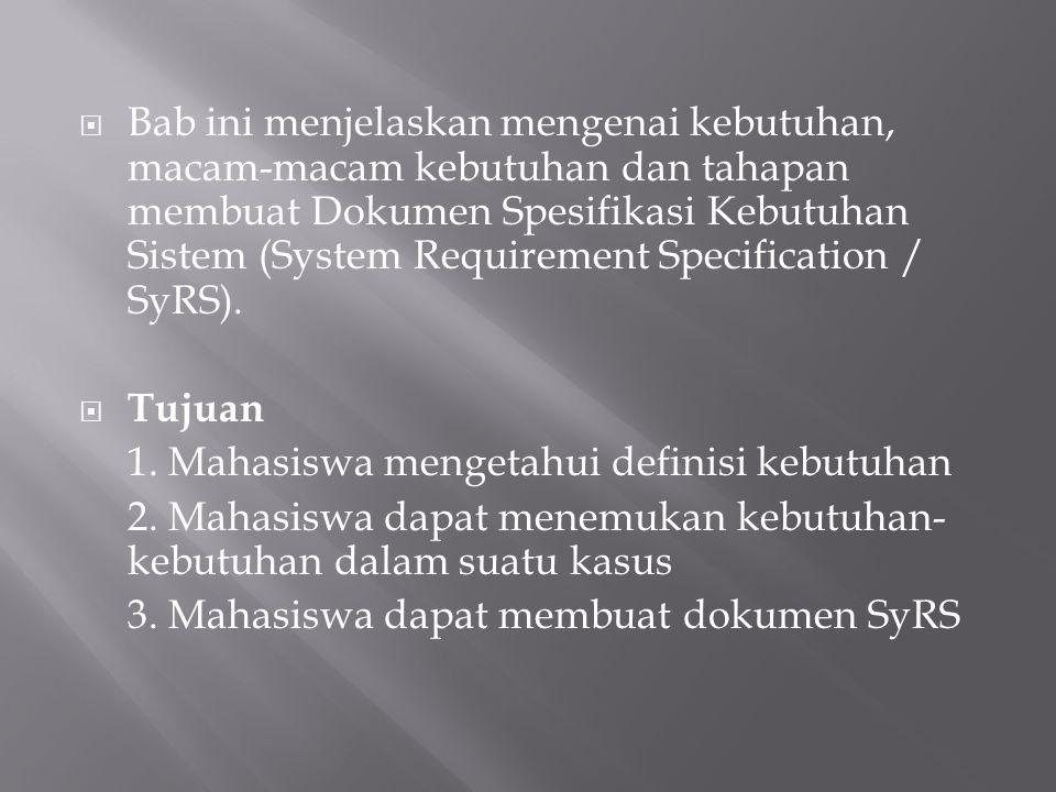 Bab ini menjelaskan mengenai kebutuhan, macam-macam kebutuhan dan tahapan membuat Dokumen Spesifikasi Kebutuhan Sistem (System Requirement Specification / SyRS).